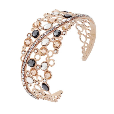 Rigid bracelet with decoration of Swarovski crystal, peach and silver night