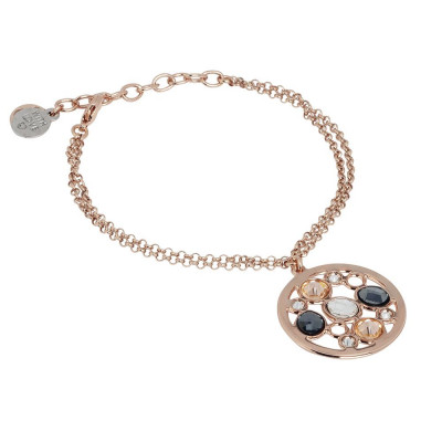 Double Bracelet plated wire pink gold with central in Swarovski