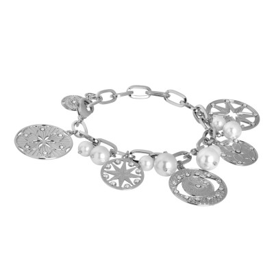 Rhodium-plated bracelet with charms, crystals and Swarovski pearls
