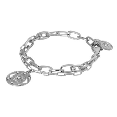 Rhodium-plated double chain bracelet with charm and Swarovski