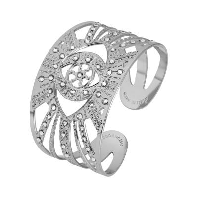 Rhodium-plated flower of life bracelet with Swarovski