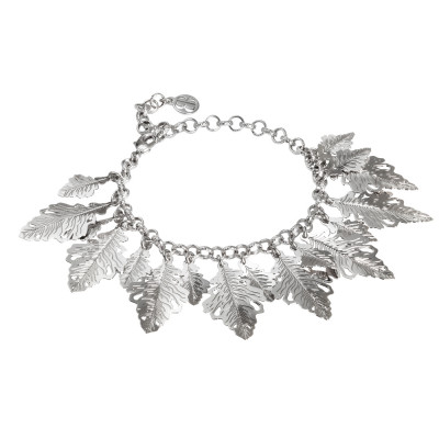 Rhodium-plated bracelet with hanging oak leaves