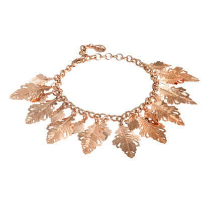 Rose gold plated bracelet with hanging oak leaves