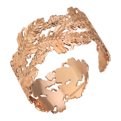 Rose gold plated rigid bracelet with oak leaf decoration