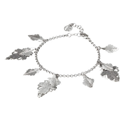Rhodium-plated bracelet with smooth and glittery hanging leaves
