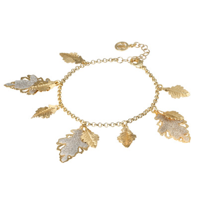 Yellow gold plated bracelet with smooth and glittery hanging leaves