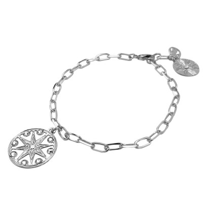Breacciale rhodium-plated chain with wind rose and Swarovski