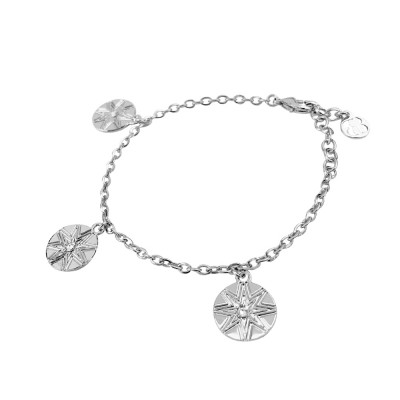 Rhodium-plated bracelet with wind rose and Swarovski charms