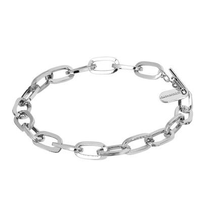 Rhodium-plated chain bracelet with rectangular links