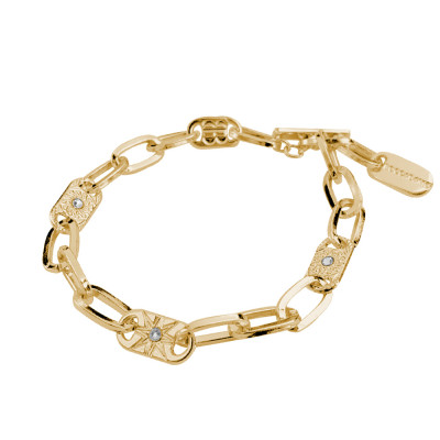 Yellow gold plated bracelet with rectangular links and decorated with wind rose and Swarovski