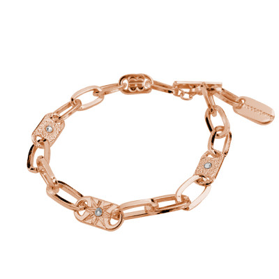 Rose gold plated bracelet with rectangular links and decorated with wind rose and Swarovski