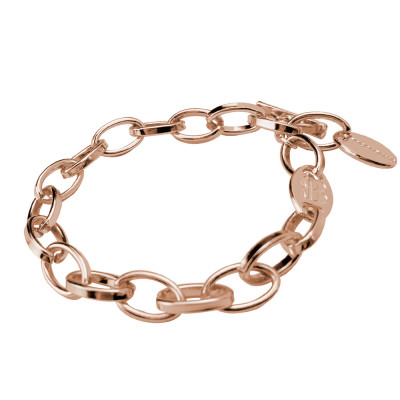Rose gold plated bracelet with oval links