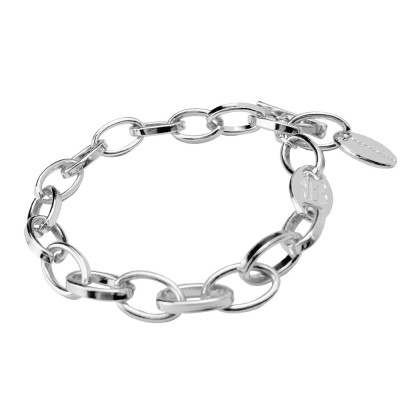 Rhodium-plated bracelet with oval links