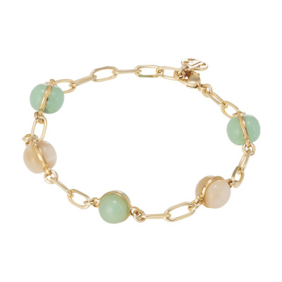 Chain bracelet with beige and milk and opaque mint cabochon