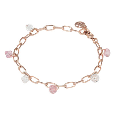 Chain bracelet with Swarovski crystal and light rose