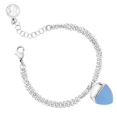 Double strand bracelet with chalcedony colored pendant