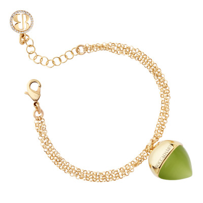 Double strand bracelet with olivine pendant
