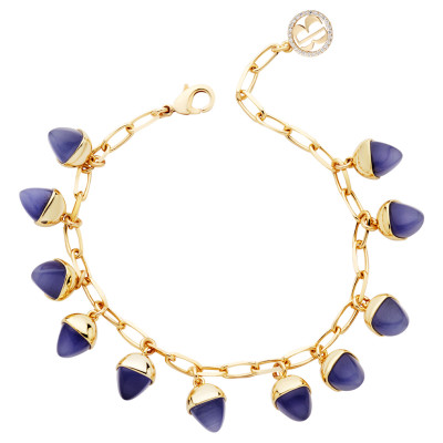 Bracelet with tanzanite colored pendants