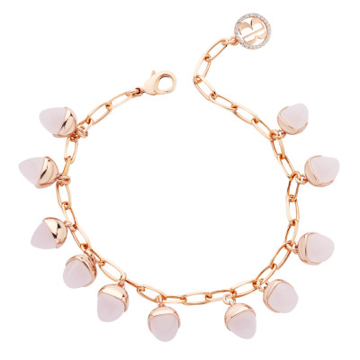 Bracelet with rose quartz colored pendants