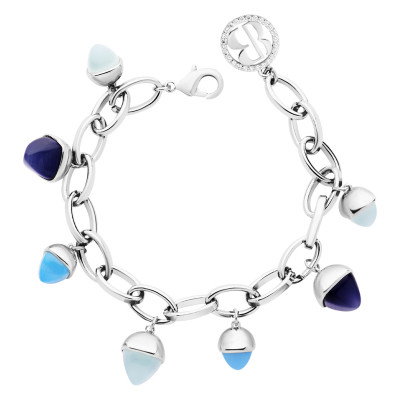Bracelet with tanzanite and aquamarine colored pendants