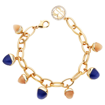 Bracelet with carnelian and tanzanite colored pendants