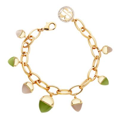 Bracelet with carnelian, moonstone and olivine colored pendants