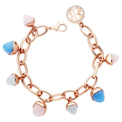 Bracelet with chalcedony, rose quartz and aquamarine pendants