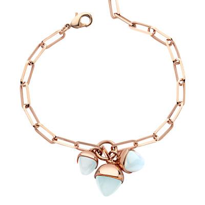 Bracelet with a tuft of aquamarine pendants
