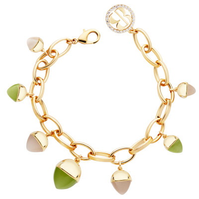 Oval mesh bracelet with olivine crystals and moonstone