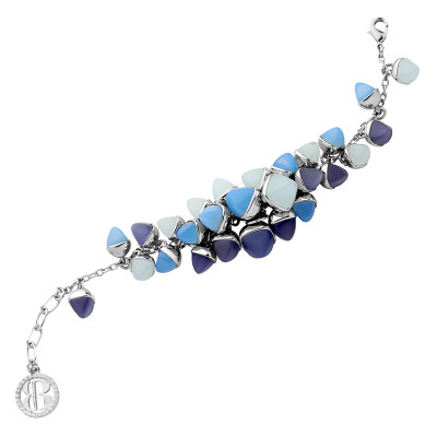 Bracelet with cluster of tanzanite, aquamarine and chalcedony colored crystals