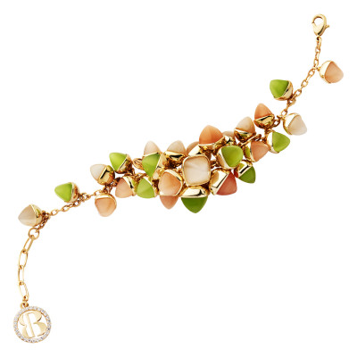 Bracelet with cluster of carnelian, olivine and moonstone crystals
