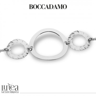 Rhodium-plated bracelet with circular elements
