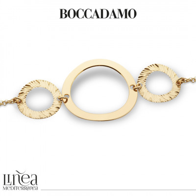 Yellow gold plated bracelet with circular elements