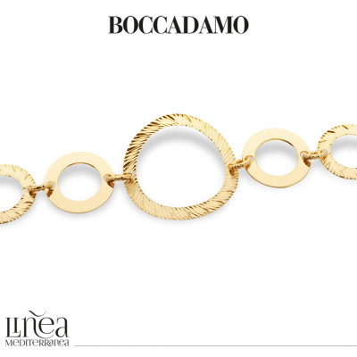 Yellow gold plated bracelet with circular modules