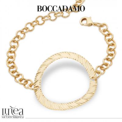 Yellow gold plated roll bracelet with central decoration