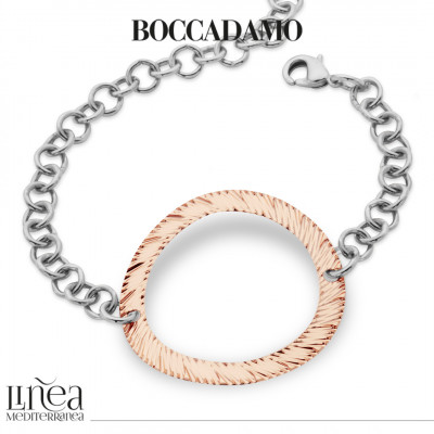 Rose gold plated roll bracelet with central decoration