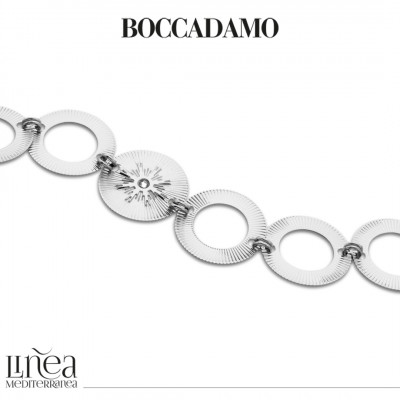 Rhodium-plated bracelet with circular modules with Swarovski