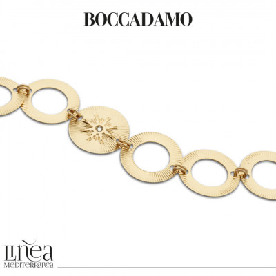 Yellow gold plated bracelet with circular modules with Swarovski