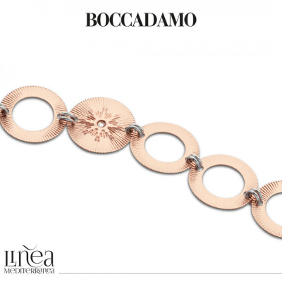 Two-tone bracelet with circular modules with Swarovski