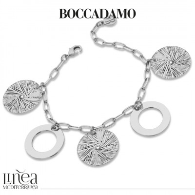 Rhodium-plated bracelet with circular pendants and Swarovski
