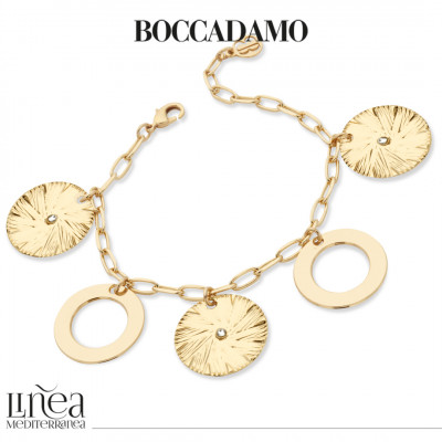 Yellow gold plated bracelet with circular pendants and Swarovski