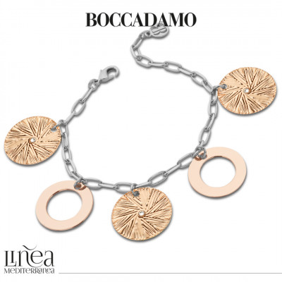 Two-tone bracelet with circular pendants and Swarovski