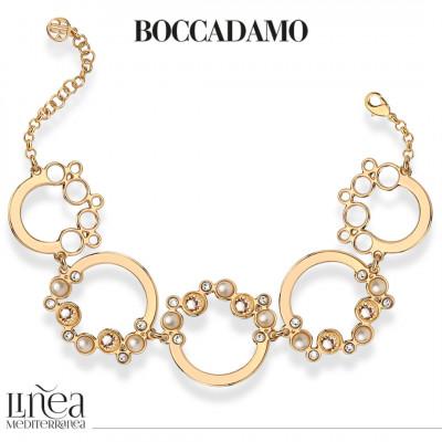 Bracelet with Swarovski crystal, silk and white pearl