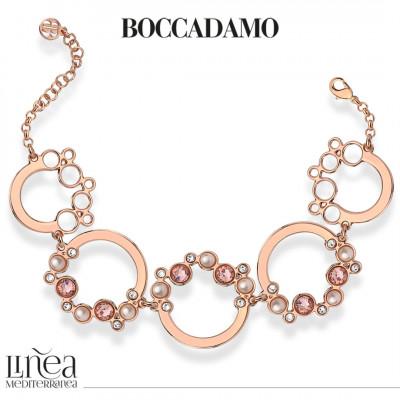 Bracelet with Swarovski crystal, vintage rose and white pearl