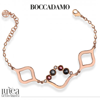 Bracelet with Swarovski crystal, antique pink and silver night