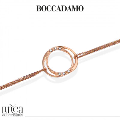 Rose gold plated double wire bracelet with Swarovski decoration
