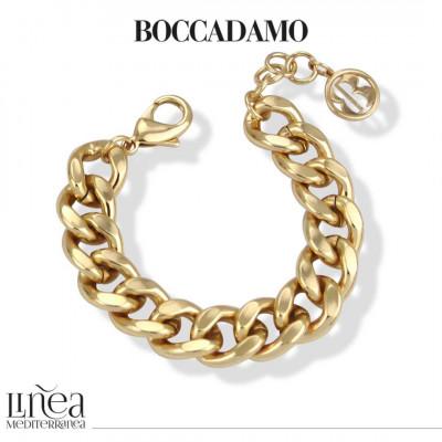 Yellow bronze medium curb bracelet with beaten finish
