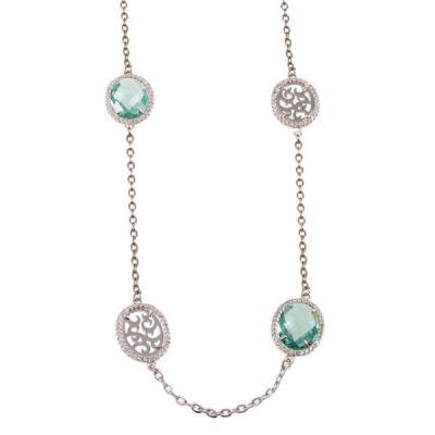 Long necklace with briolette crystal water green and zircons