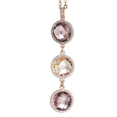 Collana con pendente in cristallo peach, ametista e zirconi