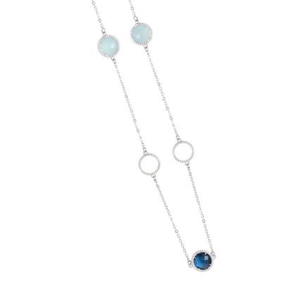 Necklace with crystals Montana, aquamilk and zircons